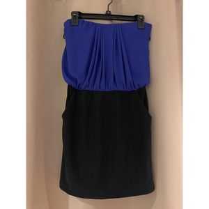 Black and blue strapless mini dress
